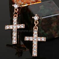 Серьги - крестики с кристаллами Swarovski, покрытые золотом(201530)