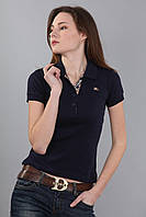 Женская футболка поло с коротким рукавом с воротником (реплика) Burberry синего цвета