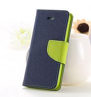 Темно-синий с зеленым чехол-книжка для Iphone 4/4S на магнитной застежке и с ремешком на руку