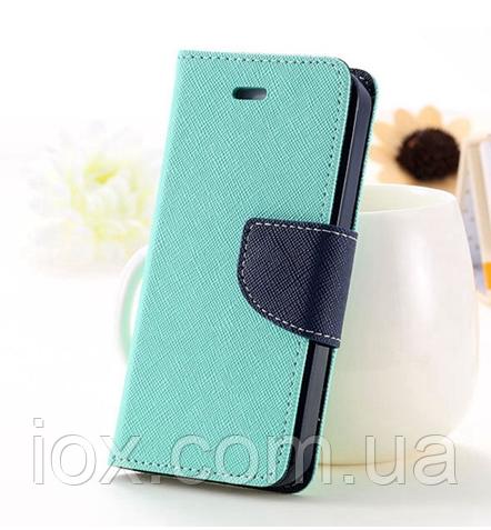 Бирюзовый чехол-книжка для Iphone 4/4S на магнитной застежке и с ремешком на руку