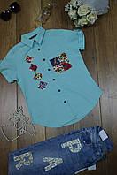 Женская рубашка вышивка короткий рукав Milano, фото 1