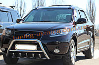 Защита переднего бампера кенгурятник из нержавейки на Hyundai Santa Fe 2006-2010