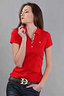 Классическа женская футболка поло с коротким рукавом с воротником (реплика) Burberry красного цвета