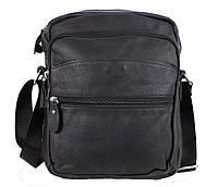 Вместительная мужская кожаная сумка-мессенджер черная