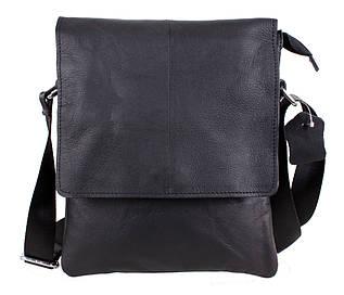 Повседневная мужская кожаная сумка-мессенджер черная Indigo RT-8138-1