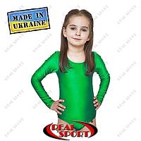 Купальник тренировочный для танцев и гимнастики. Зеленый