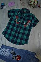 Женская рубашка клетка короткий рукав Milano, фото 1