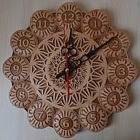"""Резные часы из дерева """"Цветок"""" - оригинальный подарок, фото 1"""