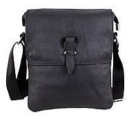 Удобная мужская сумка-мессенджер из натуральной кожи черная