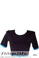Спортивный топ-футболка черный голубой кант, фото 1