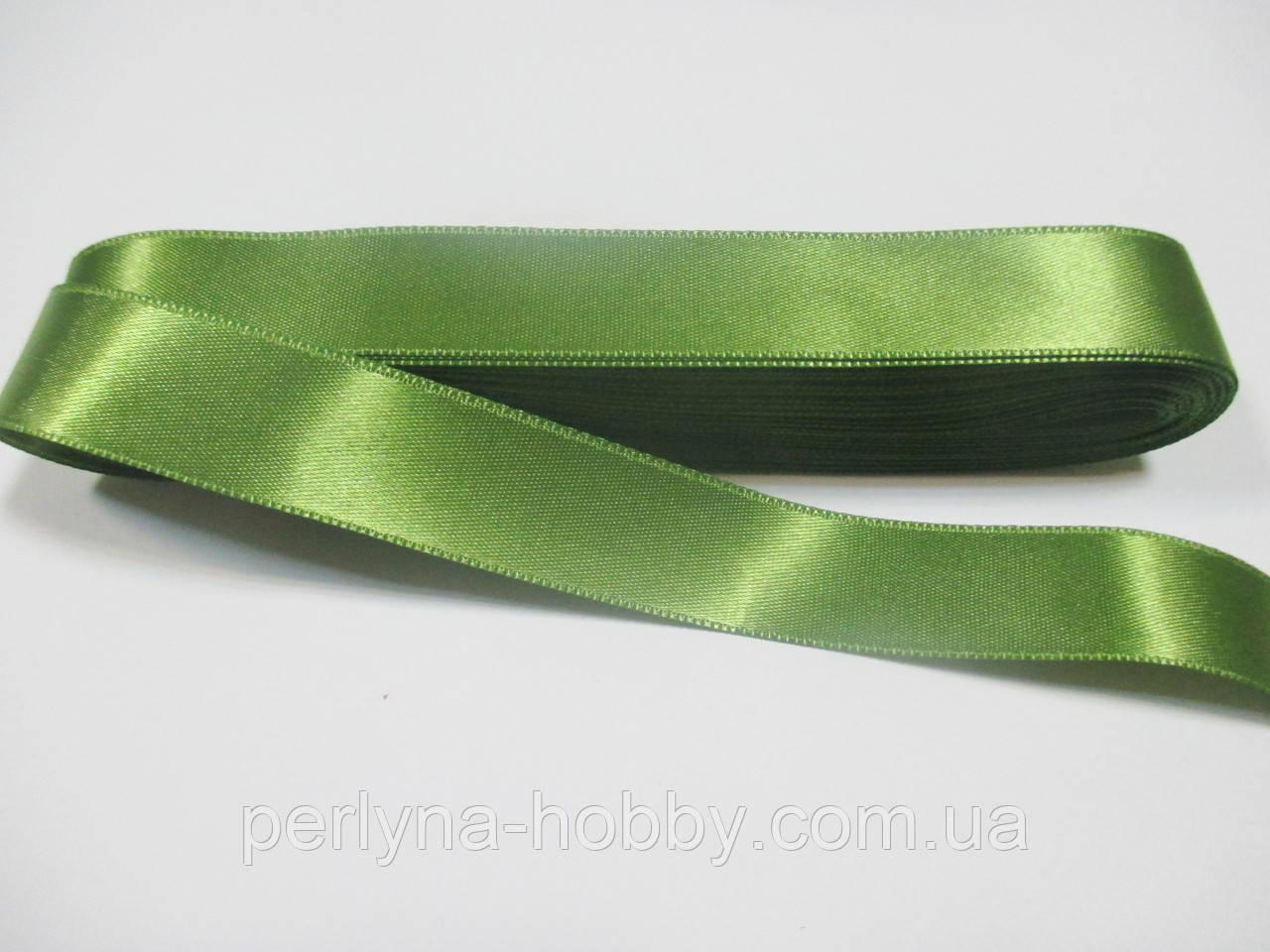 Стрічка атласна  двостороння 2 см Лента атласная двухсторонняя.( 10 метрів) зелена Н-02-72