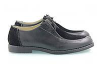 Черные женские класические туфли с замшевыми вставками на шнуровке, фото 1
