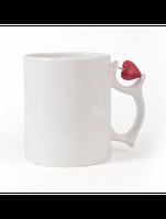 Чашка для сублимации белая с серцем на ручке