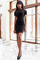 Молодежное женское черное платье Ранья Jadone Fashion 42-50 размеры