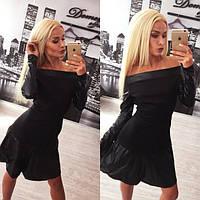 Стильное черное платье с кожей Milana d-613619