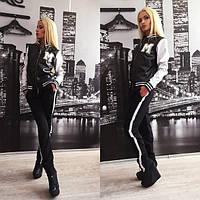 Черный спортивный костюм с белыми рукавами Hard x-61559