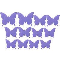3D бабочки наклейки 12 шт фиолетовые 50-120 мм