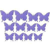 3D бабочки наклейки 12 шт фиолетовые 50-120 мм (товар при заказе от 500грн)