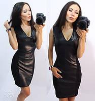 Черное короткое платье со вставкой из кожи n-203737