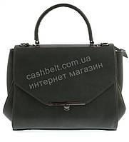 Стильная каркасная оригинальная женская сумка саквояж среднего размера art. A 230 темно зеленый