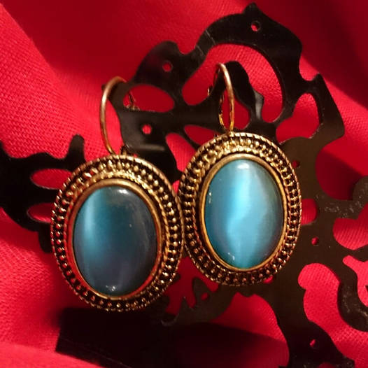 Сережки с камнем Кошачий глаз