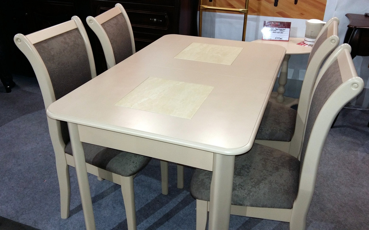 Стол  обеденный с керамической плиткой Бостон Модуль Люкс, беж