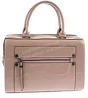 Стильная оригинальная вместительная женская лаковая сумка саквояж  art. A-66 розовый