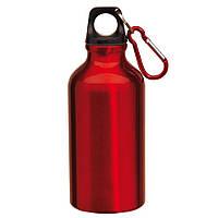 Спортивная бутылка с карабином Красная, 400мл