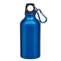Спортивная бутылка с карабином Синяя, 400мл
