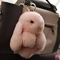 Меховый брелок - кролик из натурального меха 13 см, цвета в ассортименте