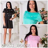 Прямое красивое платье с цветами (в расцветках) w-031336