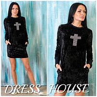 Прямое велюровое платье со стразами e-031337