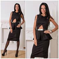 Красивое платье до колен с баской h-031344