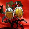 Серьги с  камнем Тигровый глаз , фото 2