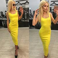Облегающее летнее платье ниже колена (разные расцветки) u-6131442
