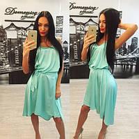 Летнее асимметричное шелковое платье i-6131445