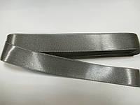 Стрічка атласна  двостороння 2 см Лента атласная двухсторонняя. ( 10 метрів) сіра G-02-811