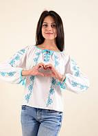 Блуза Ксения с бирюзовой вышивкой