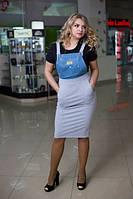 Женский стильный комбез в больших размерах из двунитки и джинса j-1015489