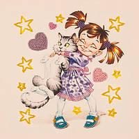 Набор для вышивания бисером  Девочка с котом