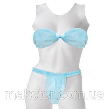 Комплект трусики-бикини с рюшем+лиф,S/M, голубой, Doily, фото 2