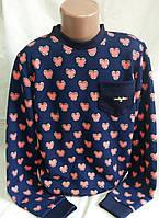 Стильная яркая кофта с рисунком сердечка для девочки, р-р 146-164, 190/210