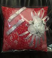 Свадебная подушка под кольца № 2 (красная)