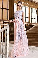 Вечернее женское персиковое платье в пол Бритни Jadone Fashion 42-50 размеры