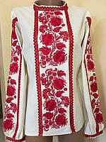 Вишита жіноча блуза гладдю з ажурним кружевом розмір 42 (S), фото 1