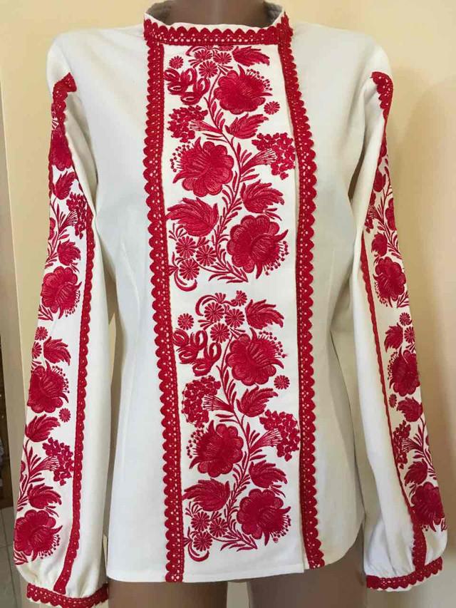 Вишита жіноча блуза гладдю з ажурним кружевом розмір 42 (S)  продажа ... 610c25fa10df8