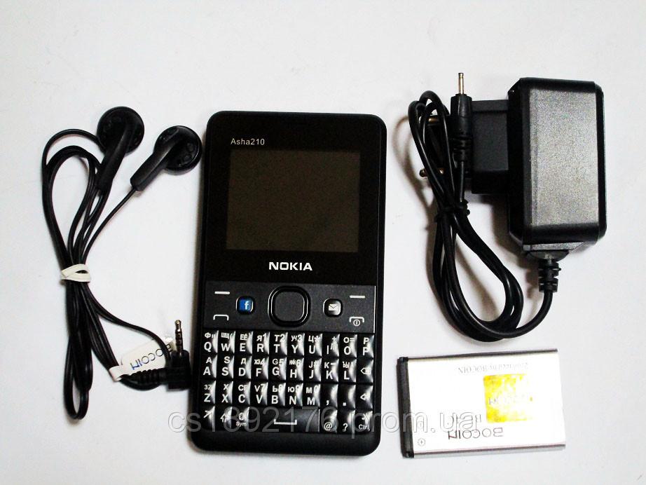 Телефон Nokia Asha 210 - 2Sim + BT + Camera +FM - стильный дизайн - функциональная клавиатура