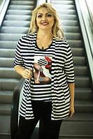 Легкий женский полосатый кардиган в больших размерах p-1015630