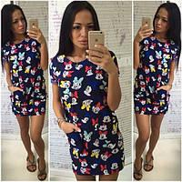 Молодежное летнее прямое платье с Микки -031771