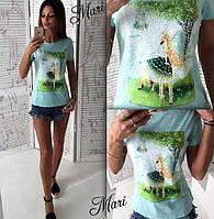 Красивая женская футболка с рисунком o-2117335